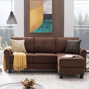 Sofa Leter L Minimalis Aidan Coklat