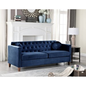 sofa tamu 3 seat Avaro biru